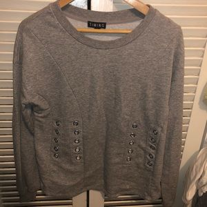 TIMING Grey Sweater with Holes